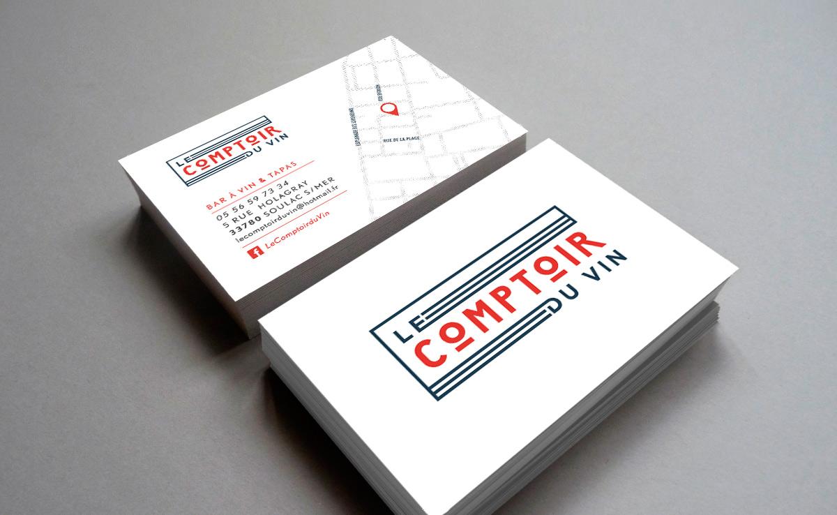 Cration Du Logotype Bar Vins Le Comptoir Vin Soulac Sur Mer Et Adaptation Pour Utilisation Vitrine